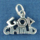 God Child Word Phrase Sterling Silver Charm Pendant
