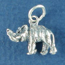 Elephant 3D Animal Sterling Silver Charm Pendant
