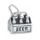Beer Six Pack 3D Sterling Silver Charm