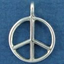 Peace Sign Symbol Small Sterling Silver Charm for Leather Cord or Charm Bracelet