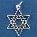 Religious Jewish Double Star of David Sterling Silver Charm Pendant