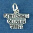 Military National Guard Wife Word Phrase Sterling Silver Charm Pendant