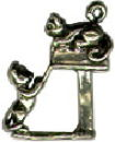 Cat: Kittens at mailbox-3D Sterling Silver Charm