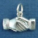 Shaking Hands 3D Friendship Sterling Silver Charm Pendant