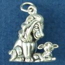 Christian Religious Parable of the Lion and Lamb 3D Sterling Silver Charm Pendant