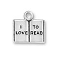 School Book with Word Phrase I Love To Read Sterling Silver Charm Pendant