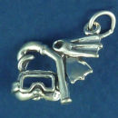 Snorkel Equipment 3D Sterling Silver Charm Pendant
