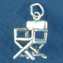 Director's Chair 3D Sterling Silver Charm Pendant
