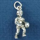 Basketball Player Boy 3D Sports Sterling Silver Charm Pendant