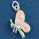 Butterfly Sterling Silver Charm Pendant 3D with Pink Enamel