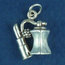 Ladies Perfume and Lipstick 3D Charm Sterling Silver Pendant