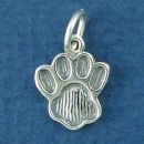 Paw Charm Sterling Silver Pendant Medium School Mascot