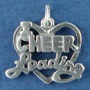 Cheer, I Heart Cheer Leading Word Phrase Charm Pendant