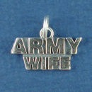 Military Army Wife Sterling Silver Charm Pendant