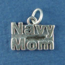 Military Navy Mom Sterling Silver Charm Pendant
