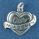 Heart with the Words Our Engagment Sterling Silver Charm Pendant