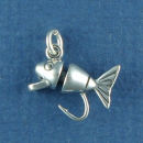 Fishing Lure 3D Sterling Silver Charm Pendant