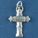 Christian Cross with Word Rejoice Sterling Silver Charm Pendant