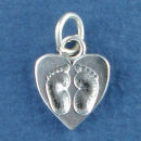 Heart with Baby Foot Prints Sterling Silver Charm Pendant
