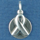 Awareness Ribbon on Disk for Engraving  Sterling Silver Charm Pendant