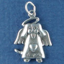 Angel Dog Charm Sterling Silver Pendant