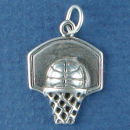 Basketball with Backboard and Net Sports Sterling Silver Charm Pendant