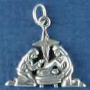 Christmas Nativity with Jesus, Mary and Saint Joseph Sterling Silver Charm 3D Pendant