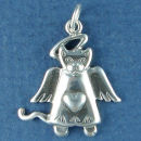 Angel Cat Charm Sterling Silver Pendant