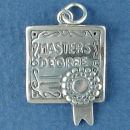 Graduation Diploma for Masters Degree School Unrolled 3D Sterling Silver Charm Pendant
