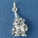 Garden Gnome with Hat Sterling Silver Charm 3D  Pendant