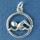 Swimming Disk Sterling Silver Charm Pendant