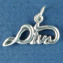 Diva Word Phrase Sterling Silver Charm Pendant