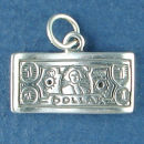 Money One Dollar Bill Sterling Silver 3D Charm Pendant Charm Bracelet Sized