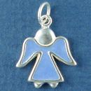 Angel with Light Blue Enamel Sterling Silver Charm Pendant