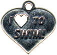 I Love to Swim Charm Sterling Silver
