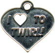 I Love To Twirl Heart Sterling Silver Charm