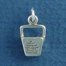 Chinese Food Take Out Box Sterling Silver Charm 3D Pendant
