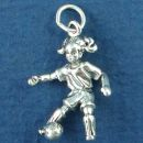 Soccer Player Girl Kicking a Soccer Ball 3D Sterling Silver Charm for Bracelet