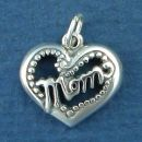 Mom on Heart with Beaded Accents Sterling Silver Charm Pendant