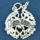 Sisters Brake Apart with Lil Sis and Big Sis Word Phrase Sterling Silver Charm Pendant with Heart and Flower Accent Design
