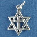 Religious Jewish Star of David with the Cross of Jesus Christ Sterling Silver Charm Pendant