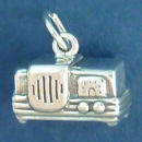 Radio 3D Sterling Silver Charm Pendant