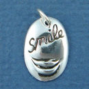 Affirmation Charm Smile with Lips Sterling Silver Charm Pendant