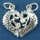 Heart with Mother and Daughter Half's Sterling Silver Charm Pendant