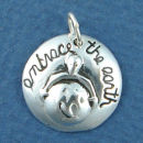 Affirmation Charm Embrace the Earth Sterling Silver Charm Pendant