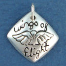Affirmation Charm Wings of Flight Sterling Silver Charm Pendant