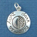 Affirmation Charm Dark Becomes Light Sterling Silver Charm Pendant