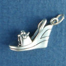 Ladies Wedge Shoe with Flower Design 3D Sterling Silver Charm Pendant