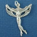 Fairy with Wings Spread Sterling Silver Charm Pendant