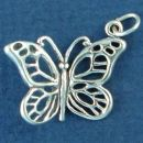 Butterfly with Filigree Wings 3D Sterling Silver Charm Pendant